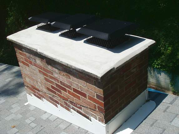 This is used to shed water away from the flue liner, and is a design that slightly slopes, or has a bevelled edge at the top of a chimney.